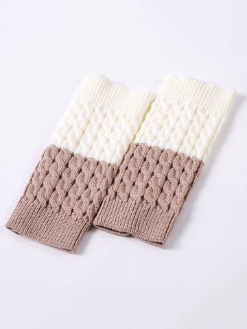 Color Block Solid Patterned Leg Warmer - Bychicstyle.com