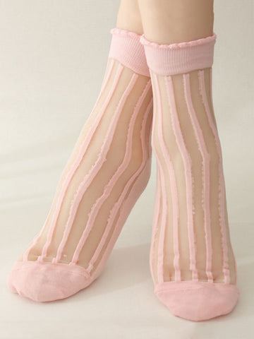 Girl's Patchwork See Through Striped Sock - Bychicstyle.com