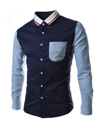 Casual Attractive Turn Down Collar Color Block Men Shirt