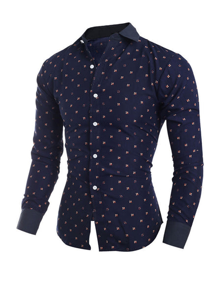 Casual Allover Floral Printed Turn Down Collar Single Breasted Men Shirt