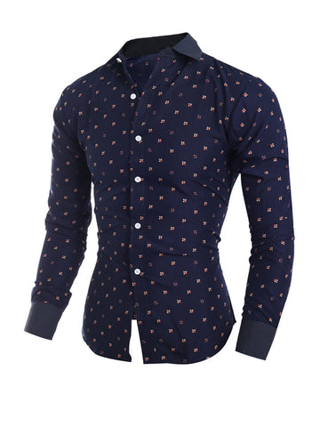 Streetstyle  Casual Allover Floral Printed Turn Down Collar Single Breasted Men Shirt