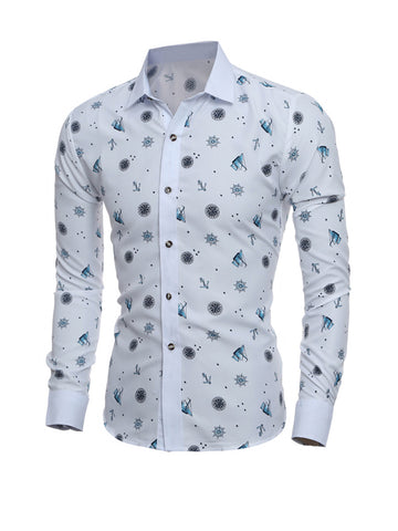 Charming Printed Turn Down Collar Men Shirt - Bychicstyle.com