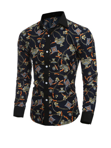 Casual Attractive Designed Turn Down Collar Printed Men Shirt