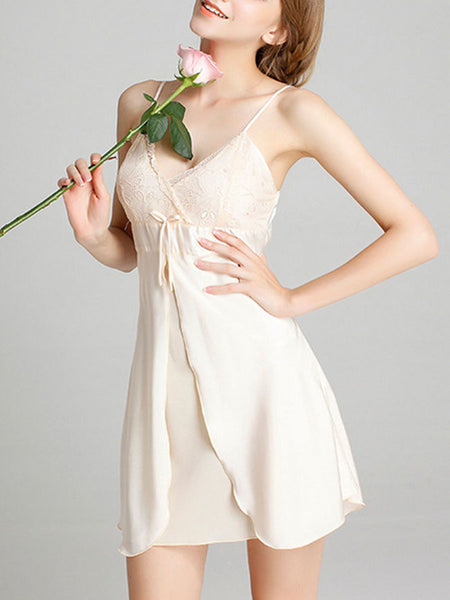 Spaghetti Strap Backless Bowknot Sexy Nightgown - Bychicstyle.com