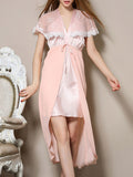 ByChicStyle Casual Elegant V-Neck Patchwork Chiffon Nightgown