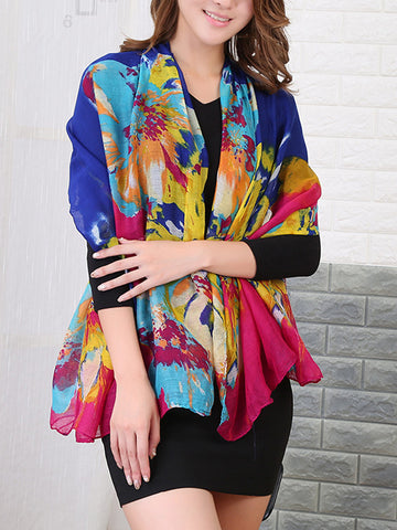 Casual Abstract Printed Colorful Long Scarf