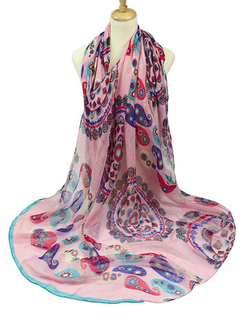 Casual Abstract Floral Printed Long Scarf