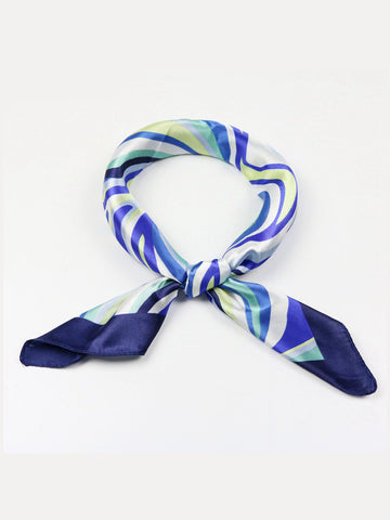 Casual Asymmetric Striped Square Scarf