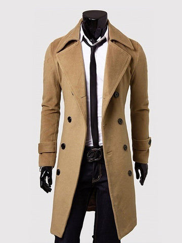 Office Lapel Double Breasted Plain Men Coat - Bychicstyle.com
