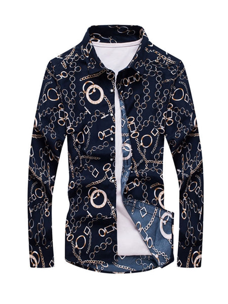 Fabulous Turn Down Collar Printed Men Shirt - Bychicstyle.com