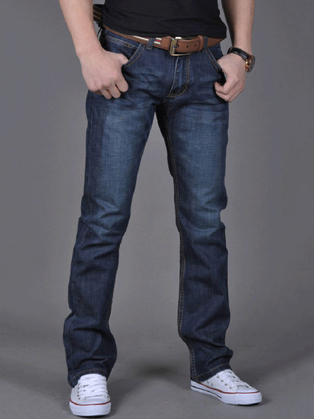 Streetstyle  Casual Basic Pocket Light Wash Straight Men's Jean