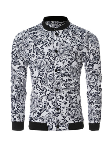Stylish Band Collar Printed Men Bomber Jacket - Bychicstyle.com