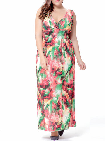 Casual Attractive Deep V-Neck Elastic Waist Printed Plus Size Maxi Dress