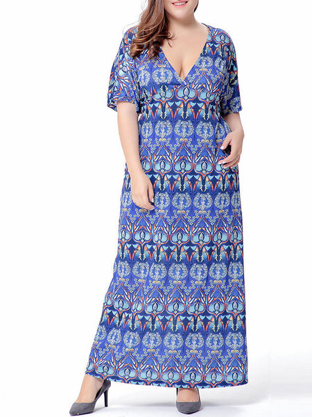 Tribal Printed Deep V-Neck Plus Size Maxi Dress - Bychicstyle.com