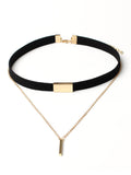 ByChicStyle Layered Bar Pendant Velvet Choker Necklace - Bychicstyle.com