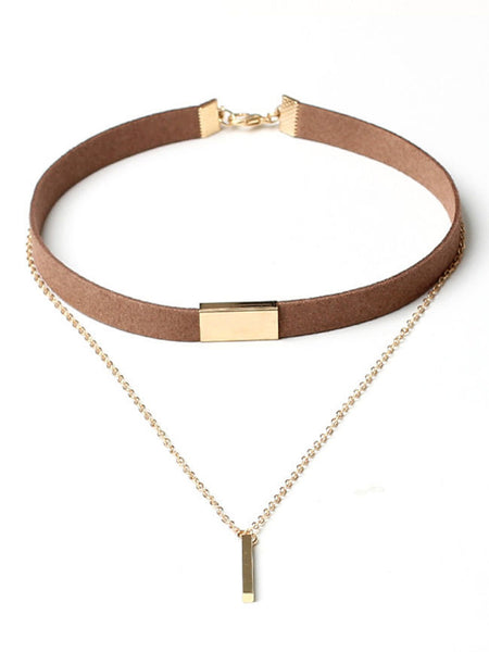 Layered Bar Pendant Velvet Choker Necklace - Bychicstyle.com