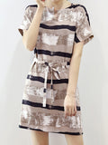 ByChicStyle Split Neck Striped Shift Dress - Bychicstyle.com