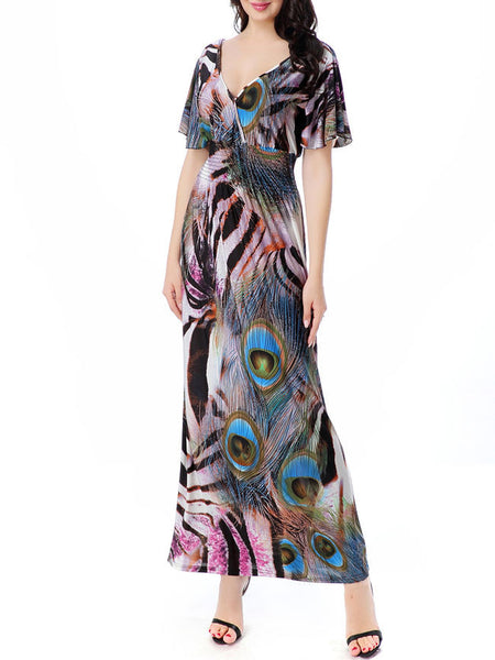 Unique Deep V-Neck Feather Printed Plus Size Maxi Dress - Bychicstyle.com
