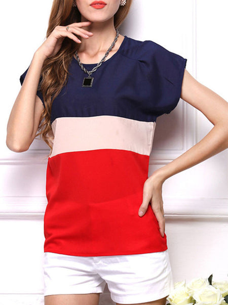 Color Block Striped Round Neck Blouse - Bychicstyle.com