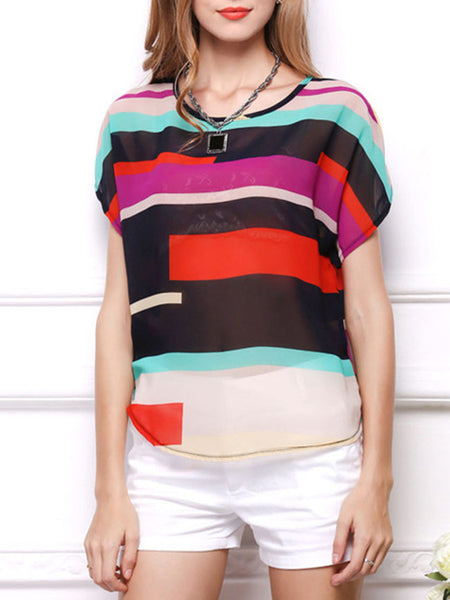 Color Block Hollow Out Striped Round Neck Blouse - Bychicstyle.com