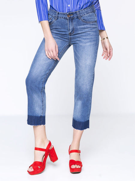 Casual Straight Light Wash Crop Jean With Raw Hem - Bychicstyle.com