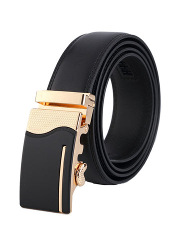 Men Gold Silver Alloy Adjustable Automatic Buckle Belt Length Randomly - Bychicstyle.com