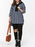 ByChicStyle Plaid Casual Turn Down Collar Single Breasted Plus Size Blouse - Bychicstyle.com