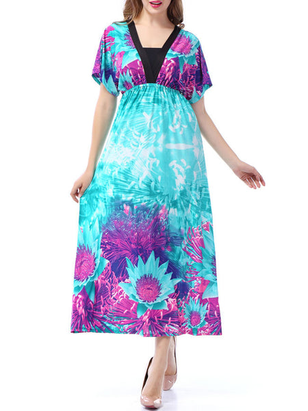 Color Block Deep V-Neck Floral Plus Size Maxi Dress - Bychicstyle.com