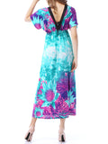 ByChicStyle Color Block Deep V-Neck Floral Plus Size Maxi Dress - Bychicstyle.com