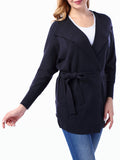 ByChicStyle Casual Plain Batwing Sleeve Lapel Wrap Plus Size Trench Coat