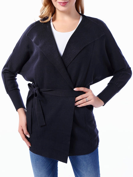 Casual Plain Batwing Sleeve Lapel Wrap Plus Size Trench Coat