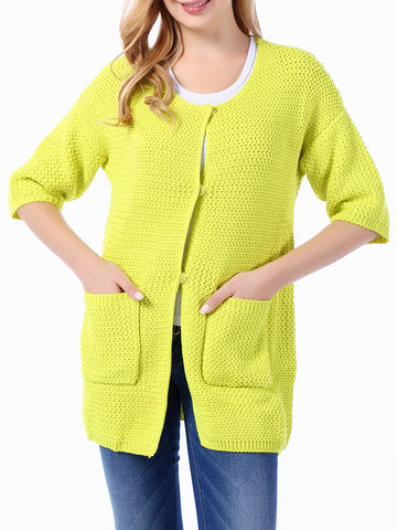 Collarless Patch Pocket Plain Plus Size Cardigan - Bychicstyle.com