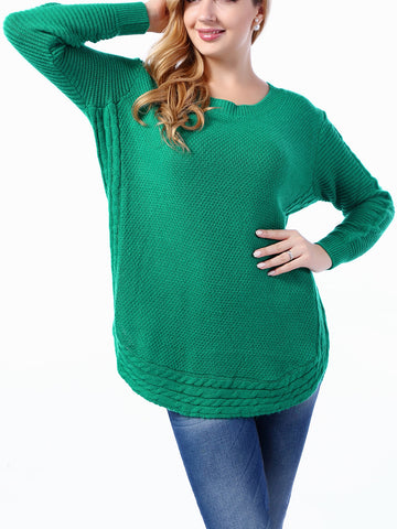 Round Neck Curved Hem Plain Plus Size Sweater - Bychicstyle.com