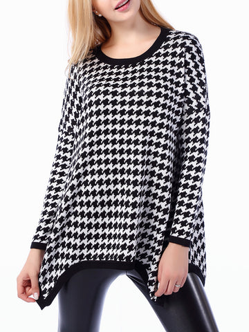 Houndstooth Asymmetric Hem Round Neck Plus Size Sweater - Bychicstyle.com