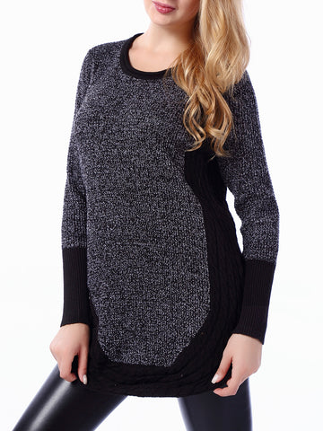 Patchwork Curved Hem Round Neck Plus Size Sweater - Bychicstyle.com