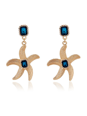 Starfish Faux Crystal Earring - Bychicstyle.com