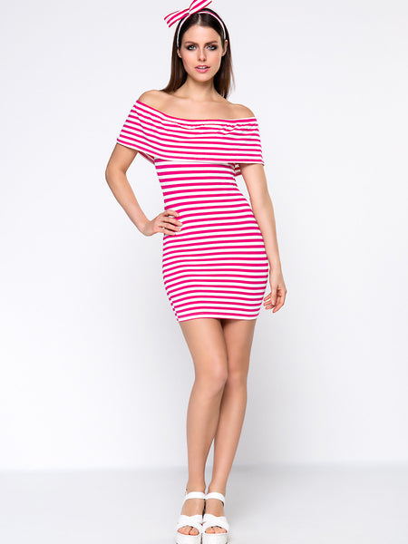 Lovely Striped Flounce Off Shoulder Bodycon Dress With Headband - Bychicstyle.com