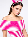 ByChicStyle Lovely Striped Flounce Off Shoulder Bodycon Dress With Headband - Bychicstyle.com