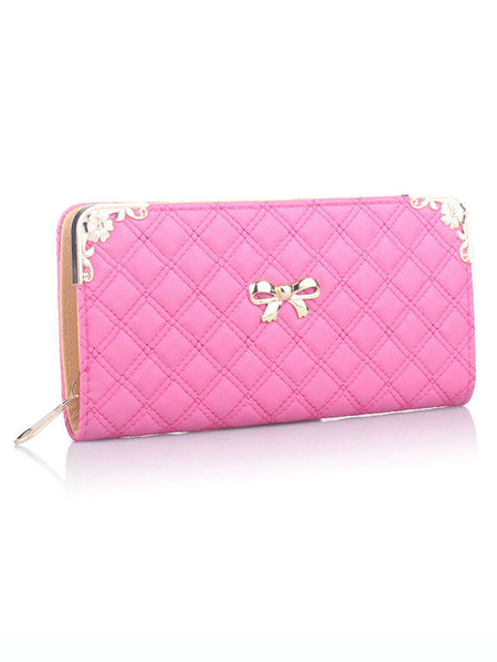 Metal Bowknot Quilted Wallet - Bychicstyle.com