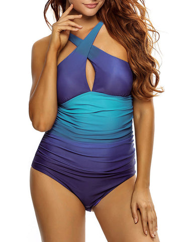 Casual Attractive Keyhole Gradient One Piece