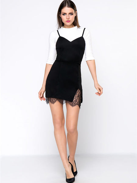 Casual Band Collar White T-Shirt And Black Spaghetti Strap Decorative Lace Dress