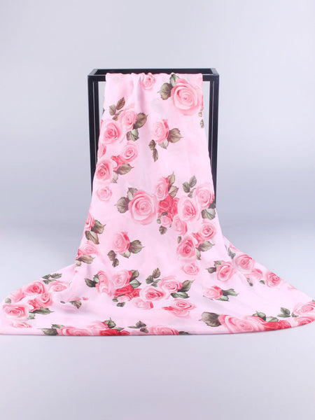 Roses Printed Chiffon Scarf - Bychicstyle.com