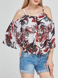 ByChicStyle Captivating Open Shoulder Printed Long Sleeve T-Shirt - Bychicstyle.com