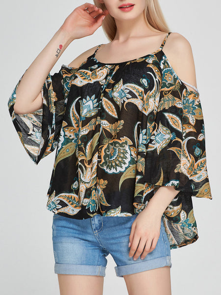 Captivating Open Shoulder Printed Long Sleeve T-Shirt - Bychicstyle.com