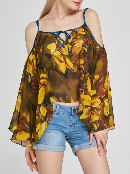 Open Shoulder Asymmetric Hem Printed Bell Long Sleeve T-Shirt - Bychicstyle.com