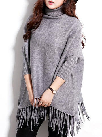 Turtleneck Fringe Plain Batwing Sleeve Plus Size Sweater - Bychicstyle.com