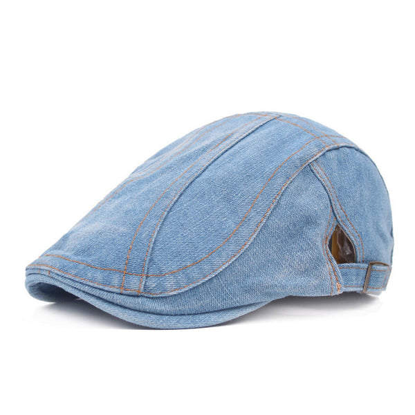 Fashionable Strappy And Adjustable Buckle Embellished Jeans Flat Cap For Men - Bychicstyle.com