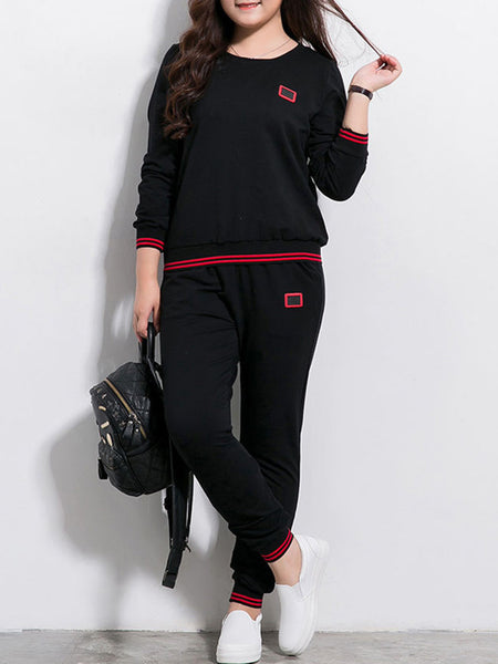 Round Neck Striped Sweatshirt And Mid-Rise Pocket Pant - Bychicstyle.com