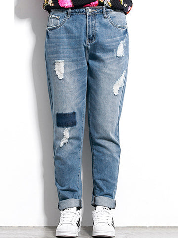 Ripped Pocket Pegged Mid-Rise Plus Size Jean - Bychicstyle.com