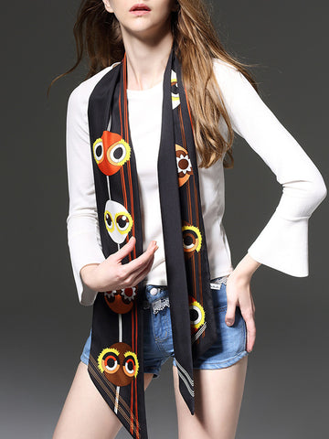 Cartoon Printed Silk Long Scarf - Bychicstyle.com